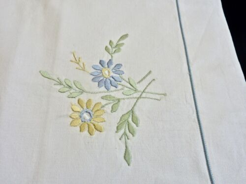 BEAUTIFUL WHITE COTTON HAND EMBROIDERED TWO PILLOWCASES UNUSED