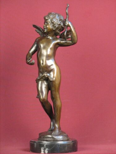 SIGNED BRONZE HANDCRAFTED STATUE CUPID CHERUB DETAILED SCULPTURE ON MARBLE BASE