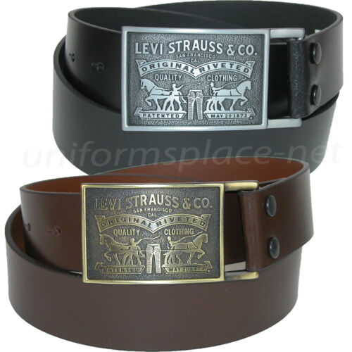 """Levis Leather Belt Mens 1 1/2"""" genuine bridle leather strap with plaque buckle"""
