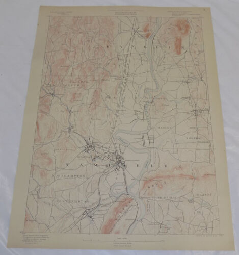 1890 Topo Map of NORTHAMPTON QUADRANGLE, WESTERN MASSACHUSETTS