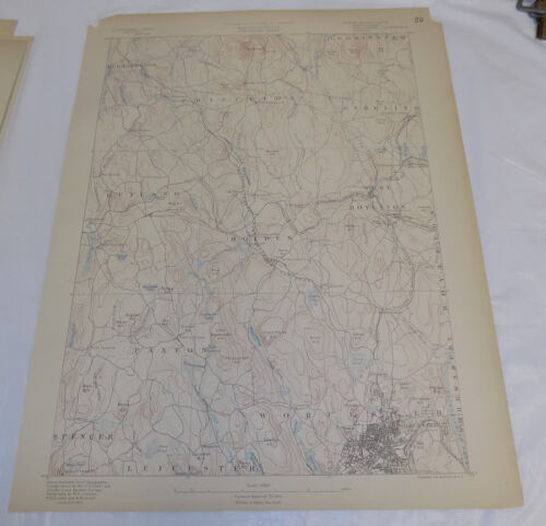 1890 Topo Map of WORCESTER QUADRANGLE, MA, UPPER CENTER OF STATE