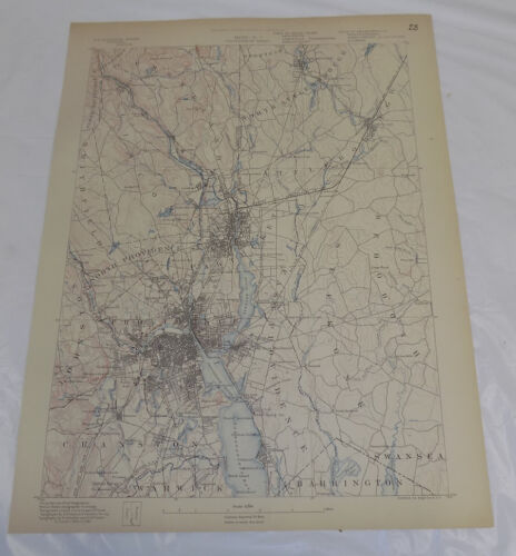 1890 Topo Map of PROVIDENCE QUADRANGLE, MASSACHUSETTS & RHODE ISLAND