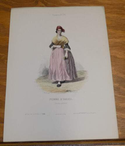 1850 Antique French Costume COLOR Print///WOMAN OF ARLES, FRANCE