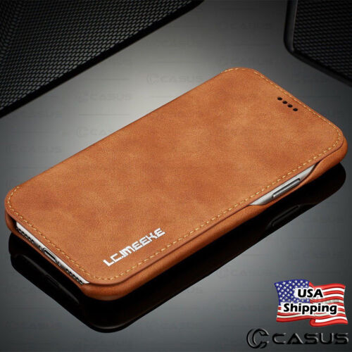 For Galaxy Note 20/10 Ultra S20/S10/S9 Plus Leather Wallet Thin Slim Case Cover