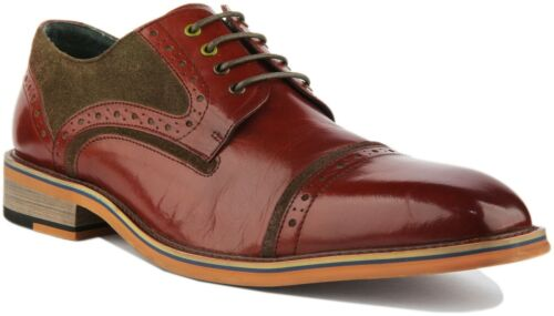 Justin Reece Dennis Mens Leather Brogue Shoes In Wine Sizes UK 6 - 12