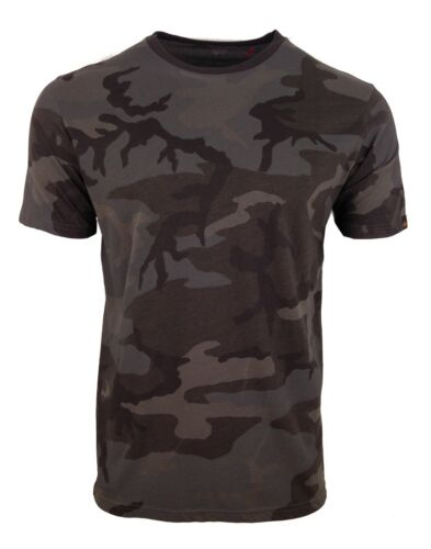 ALPHA INDUSTRIES GREY/BLACK CAMO T-SHIRT ARMY MILITARY CAMOUFLAGE BLOOD CHIT