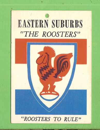 #d365. 1968  Scanlens Eastern Suburbs Roosters Rugby League Team  Crest Card