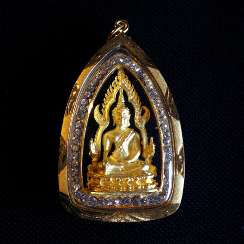 Thai Amulet Phra Buddha Chinnaraj Jewelry Gold Pendant Protect Lucky Success DBZ