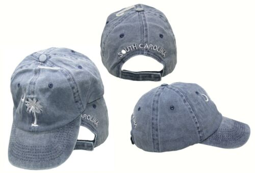 South Carolina SC Palmetto Crescent Moon Blue Washed Embroidered Ball Cap  Hat d733adcbd62