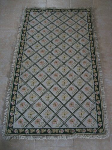 Arraiolos Needlepoint Rug - 100% Wool & Jute - 3' x 5' - Portugal - Late 20th C.