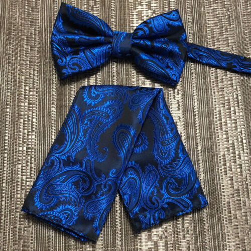 New Men Royal Blue BUTTERFLY Bow tie And Pocket Square Handkerchief Set Wedding