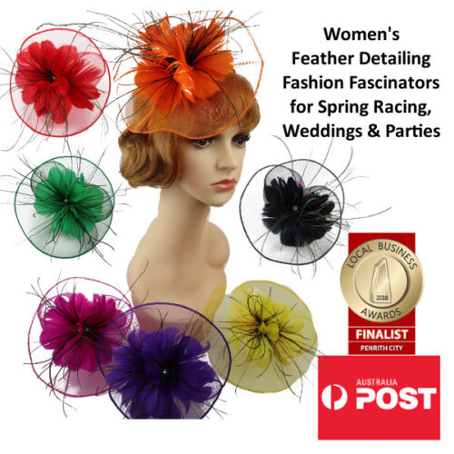 Women's Fashion Fascinators Spring Races Melbourne Cup Mesh and Feather Flower