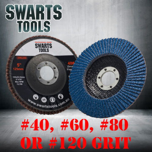 """5"""" 125mm Cubic Zirconia Flap Discs Wheels Angle Grinder Super High Density <br/> Ultra Long Lasting - Stable - Safety Standard Approved"""
