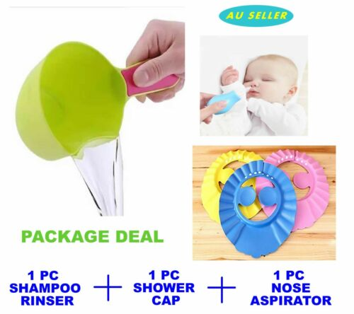 Baby Shower Cap With Ear Cover+Shampoo Rinser Cup+Nosal Aspirator Nose Pump