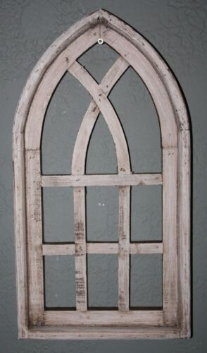 """Wooden Antique Style Church WINDOW Frame Primitive Wood Gothic 18 3/4"""" Shabby"""