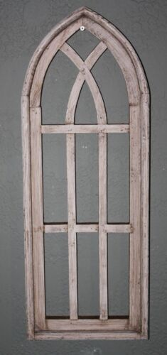 """Wooden Antique Style Church WINDOW Frame Primitive Wood Gothic 27"""" Shabby"""