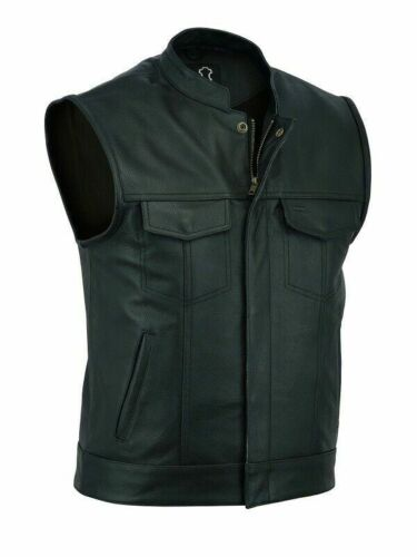 Mens Motorbike SOA Real Leather Full Grain - Cut Off Waistcoat