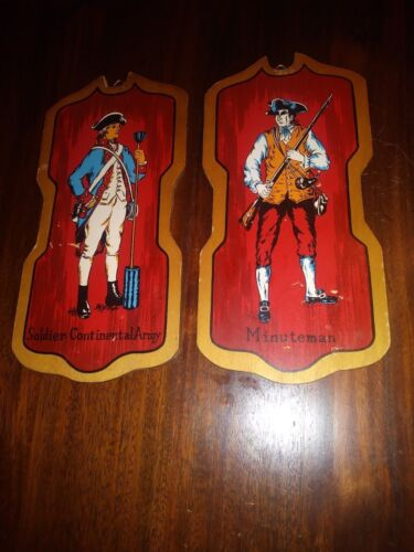 Vintage Minuteman & Soldier Continental Army Wall Plaques Art Wood Japan