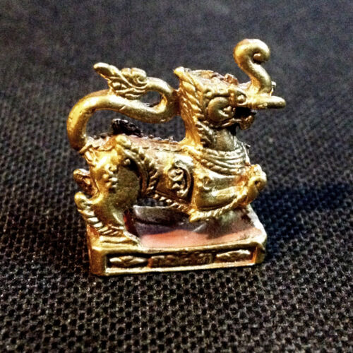 Thai Amulet Kodchasing Lion & Elephant mixed Miniature Figurine Power Lucky DAF
