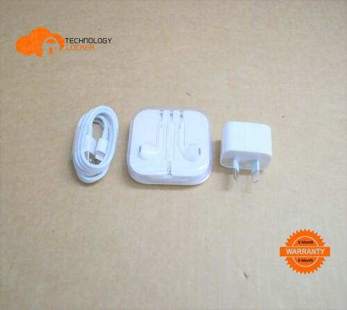 Genuine Apple USB Power Adapter Wall Charger + USB Cable + Apple Earbuds