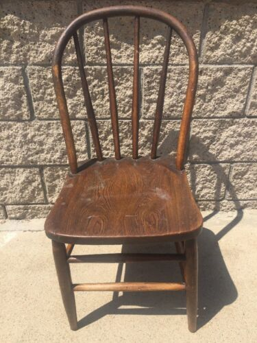 Antique Tiger Striped Oak Wood Brown Dining Chair Barn Primitive Decor