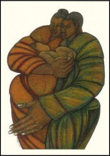 """""""New Life"""" Limited Edition 500 Ethnic Expressionism Art 2001 by Charles Bibbs"""