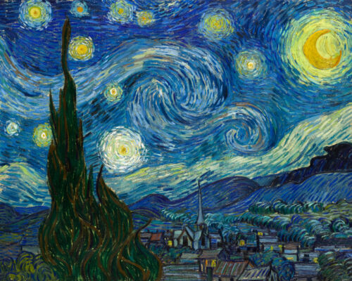 Starry Night Van Gogh Art Print Canvas Small Wall Decor Painting Print 8x10