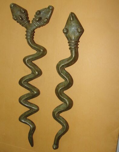 African Old Bronze Lost Wax Snake Amulet Pendant Necklace Baule Lobi Ivory Coast