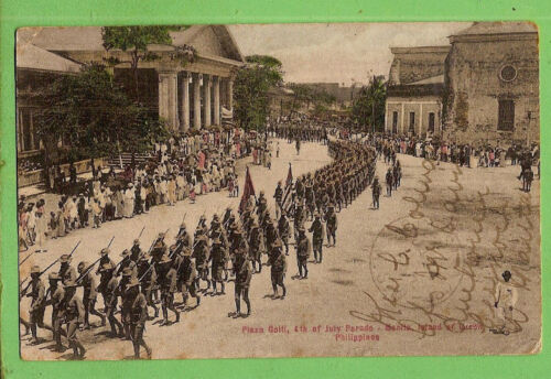 #P. 1908 POSTCARD - USA TROOPS 4th JULY PARADE IN THE PHILIPPINESOther Eras, Wars - 135