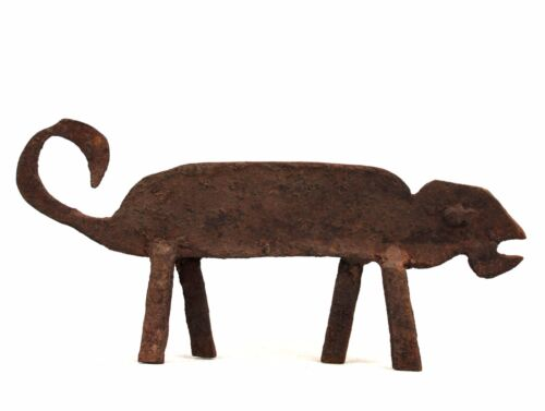 Art African Arts First - Antique Chameleon Forged Iron Lobi - 23,5 Ms