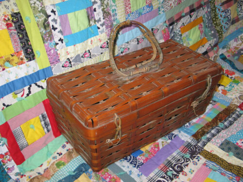 ANTIQUE Primitive Hand Made Fishing Sewing Basket-Box