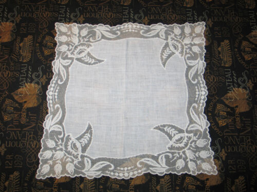 VTG Antique Needle Run Embroidery Net Lace Handkerchief Hanky~Bridal~Floral