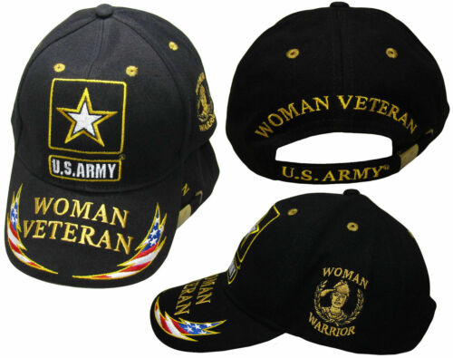 64494f095a6 U.S. Army Woman Veteran Woman Warrior Feather Black Yellow Embroidered Cap  Hat