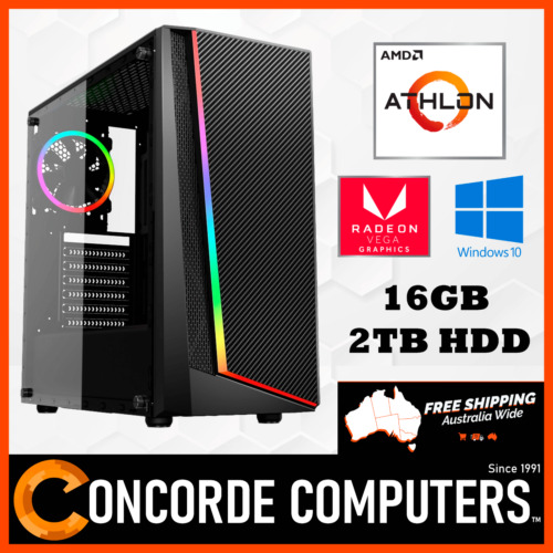 AMD 3000G Dual Core | 16GB DDR4 | 2TB | Gaming Computer System Office Desktop PC
