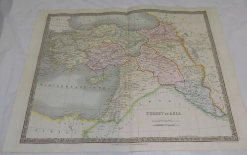 1834 Antique COLOR Map///TURKEY IN ASIA