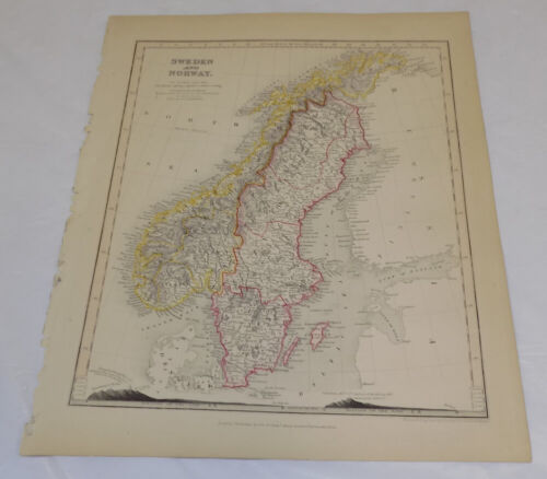 1850 Antique Map///SWEDEN AND NORWAY
