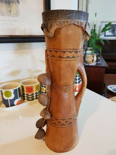 Genuine Papua New Guinea Tribal Drum with Seed Rattles, Monitor lizard skin.