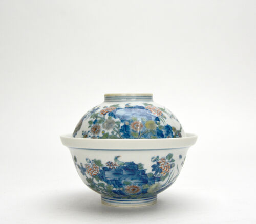 Superb Set of Chinese Qing Kangxi Doucai Floral Porcelain Bowl with Lid Cover