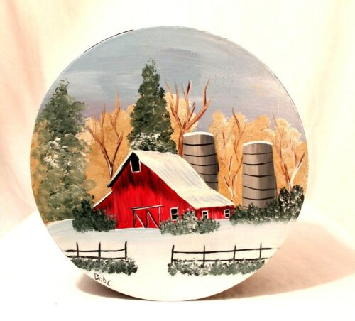 Wooden round container with winter barn scene with silos (2019022304)