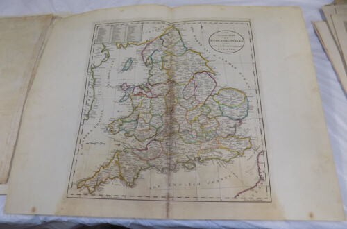 1795 Antique COLOR Map///ENGLAND & WALES, WITH PRINCIPAL ROADS
