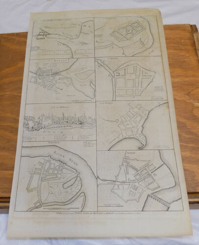 1786 Antique Map///CITIES, FORTS, HARBORS IN IRELAND IN YEAR 1700///a