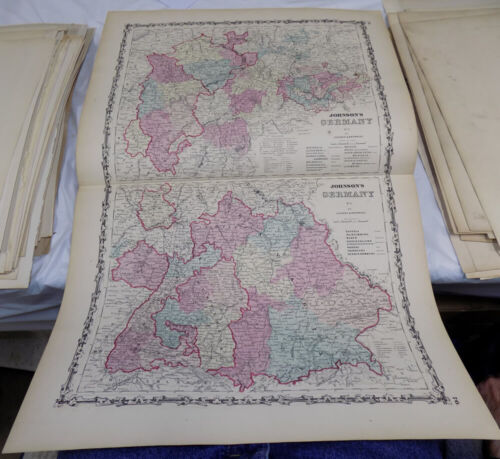 1860 Antique COLOR Map/GERMANY, PARTS 2 AND 3, published by Johnson and Browning