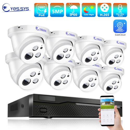 Eyes.sys 8CH POE NVR 8pcs 5MP HD CCTV IP AUDIO Array Dome Camera Security system