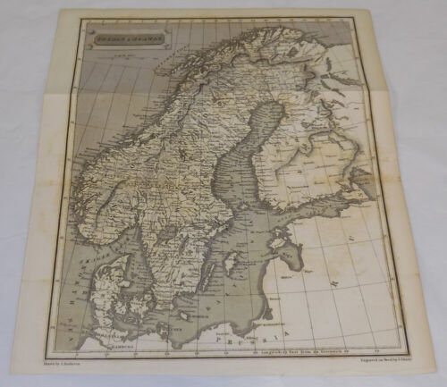 mid-1800s Antique Map///SWEDEN AND NORWAY