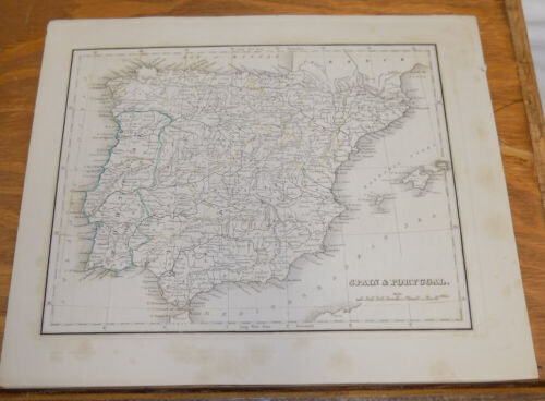 early 1800s Antique Map///SPAIN AND PORTUGAL