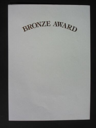 CERTIFICATE BRONZE AWARD A4 BLANK - LASER COMPATIBLE