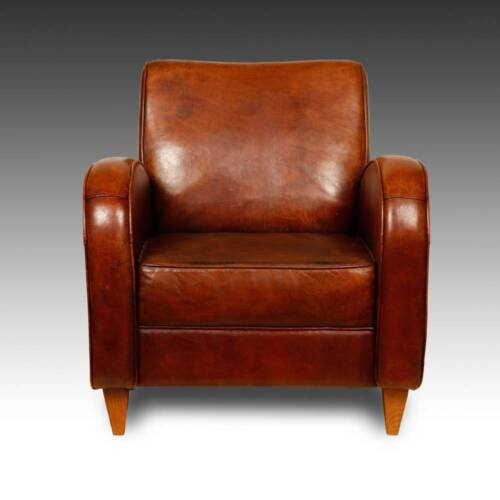 STUNNING LOUNGE CHAIR SHEEP LEATHER HARDWOOD FRAME HOLLAND MID-20TH CENTURY