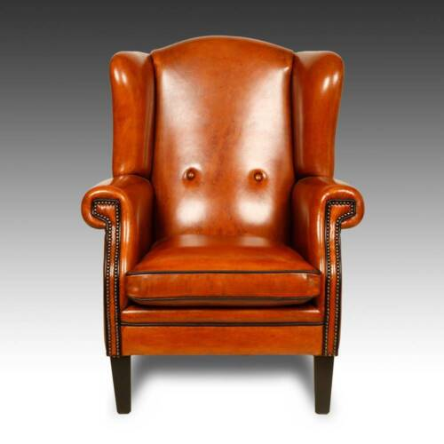 WING BACK LOUNGE CHAIR SHEEP LEATHER HARDWOOD FRAME HOLLAND CONTEMPORARY