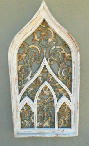 "Wooden Antique Style Church WINDOW Frame Primitive Wood Gothic 32 1/2"" Shabby"
