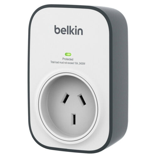 Belkin 1 Outlet Power Board Surge Protector 240V Wall Mounted White/Grey